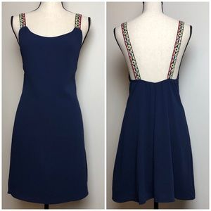 Dresses & Skirts - Slip Dress with Multi-Colored Embroidered Straps